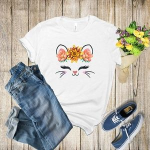 Graphic Tee- Kitty with Orange Flowers